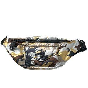 NWT Zara Camo Metallic Fanny Pack Waist Bag Sz M